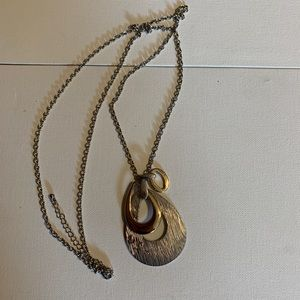 Long necklace silver & gold colored pendants